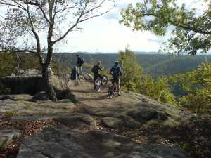 group cycling outdoors